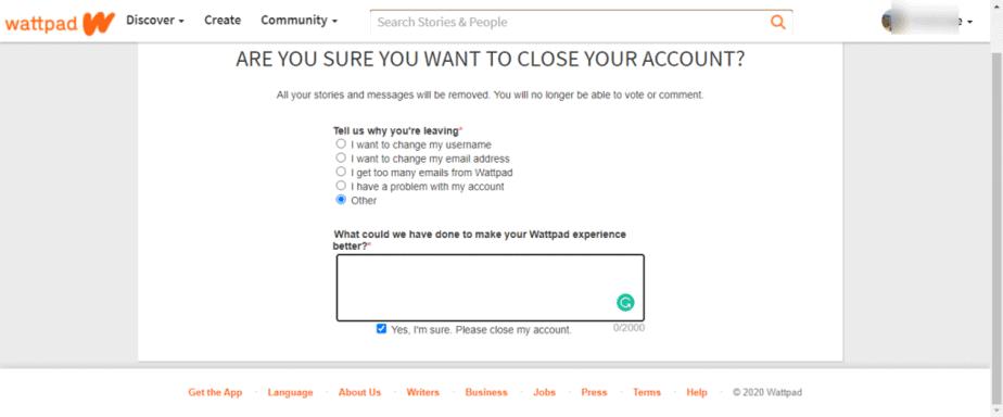 How to delete your Wattpad account
