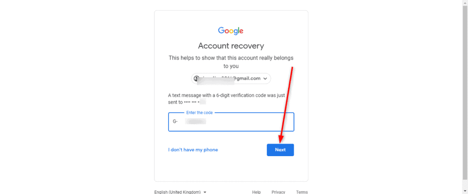 Enter Google Verification code