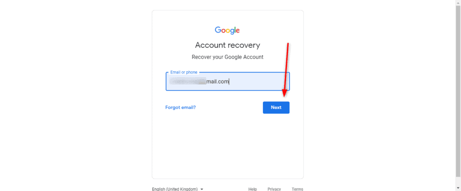 Google Account Recovery Page Verify Identity