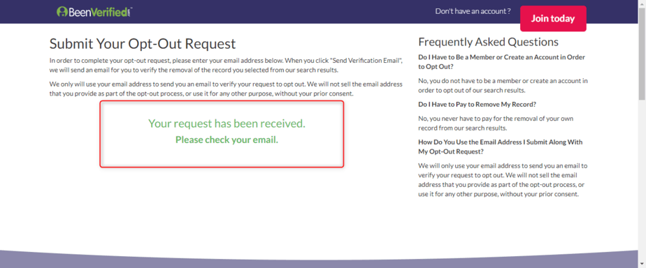 BeenVerified Opt Out Email Received
