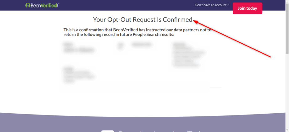 BeenVerified Opt Out confirmed