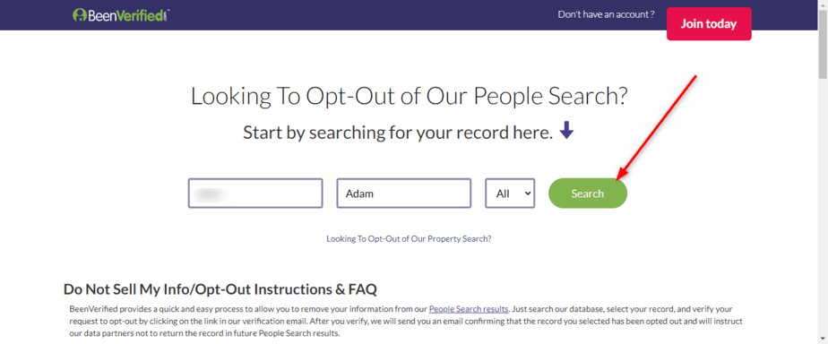 Search BeenVerified Opt Out Form