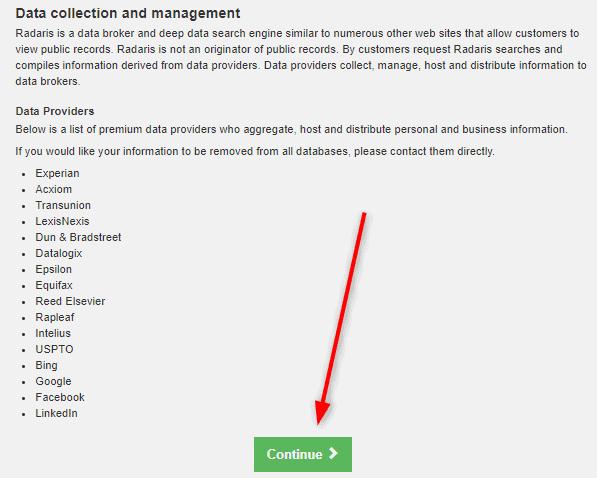 Radaris.com opt out