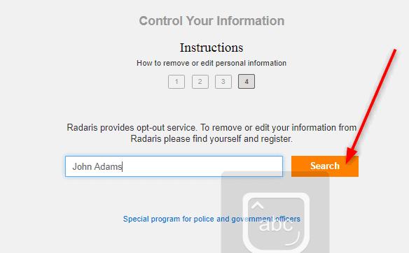 Radaris.com/opt-out
