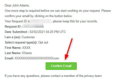 Confirm Intelius Opt Out Email