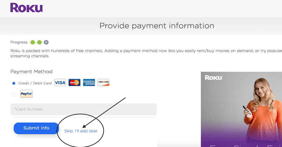 Activate Roku without credit card