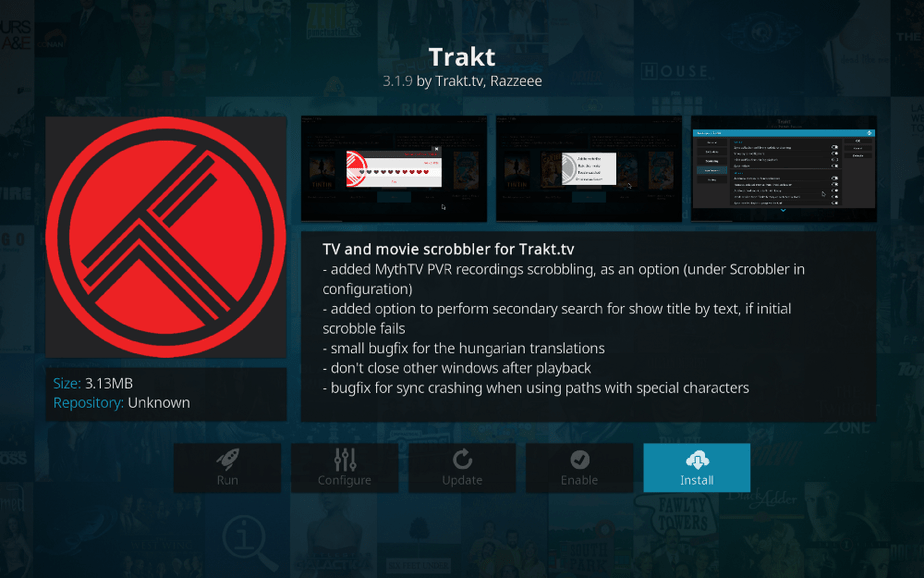 Install Trakt TV App