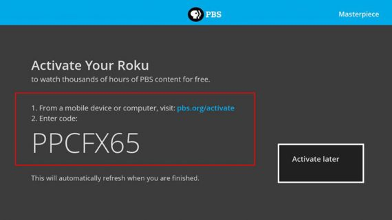 PBS org Activate code