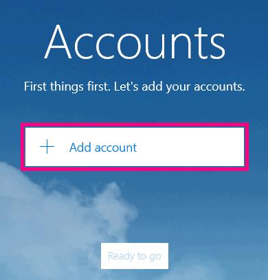 Add account on Windows 10