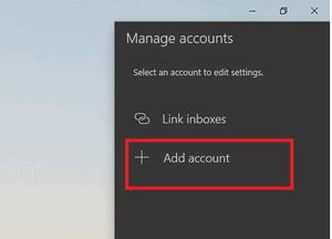 Add Account under manage account