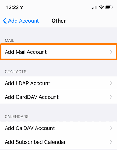 Add Mail account to add iiNet Webmail email