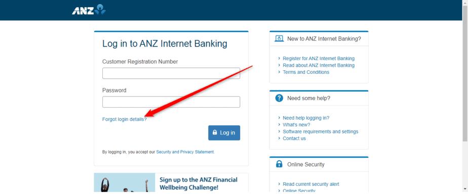 Forgot ANZ Online internet banking login