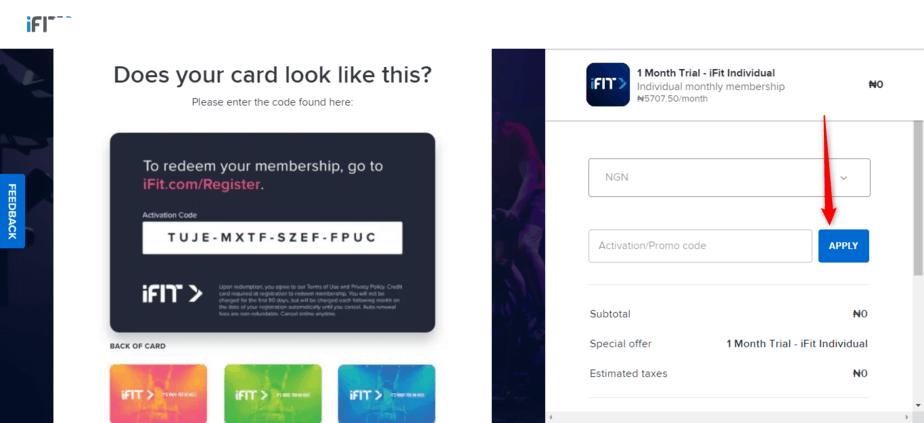 Redeem membership activation code