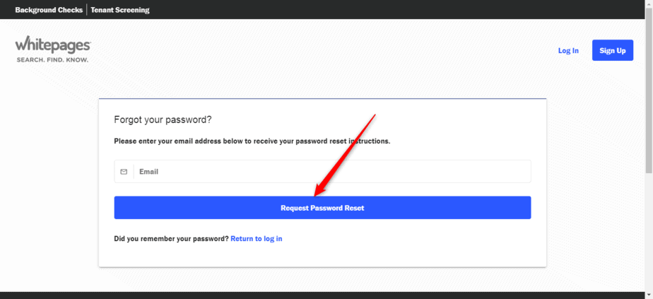 Request password reset on Whitepages